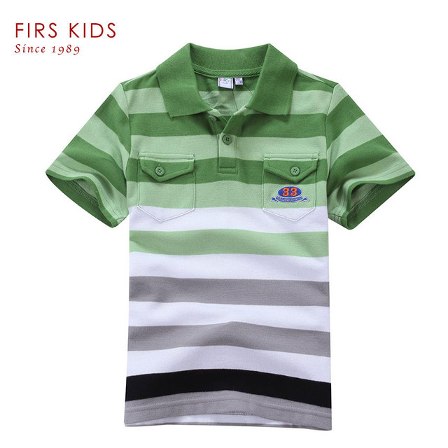 2016 FIRS KIDS Baby Boys Kid Tops T-Shirt Summer Short Sleeve T Shirt Striped Polo Shirt Tops Hot Sale-5