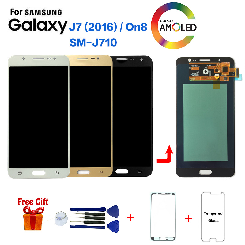 Super Amoled Für <font><b>Samsung</b></font> Galaxy <font><b>J7</b></font> <font><b>2016</b></font> J710 SM-J710F J710M J710H J710FN <font><b>LCD</b></font> <font><b>Display</b></font> Mit Touch Screen Digitizer Montage + werkzeuge image