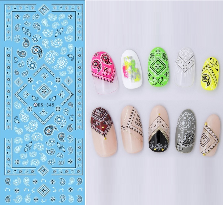 Ds345 New Design Water Transfer Nails Art Sticker Harajuku Elements Indian Style Figures Nail Wraps