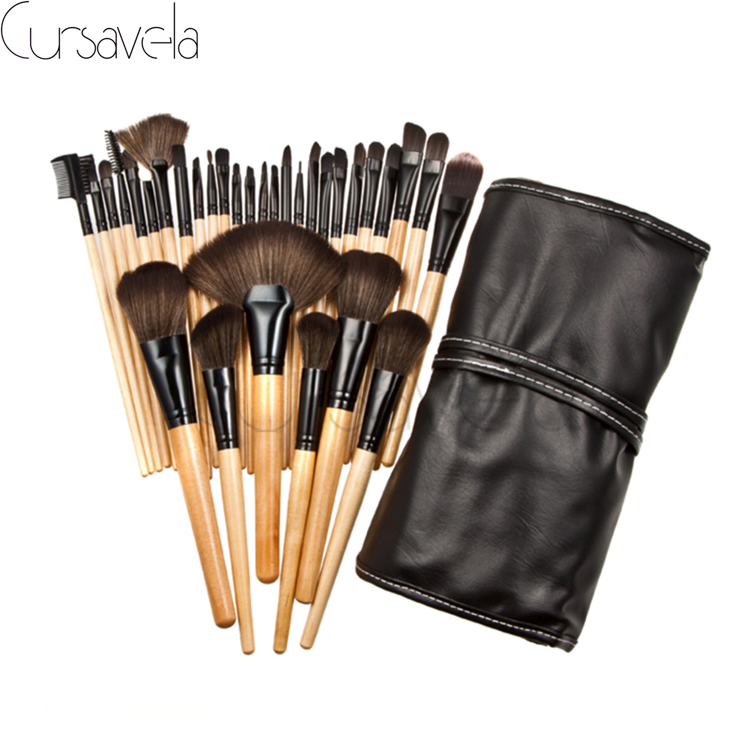 32 pcs Makeup Brushes Set Goat Hair Professional Brown Makeup Brush Foundation Powder Blush Eyeliner Brushes With PU Bag EAB031 32 pcs kit makeup brushes professional set cosmetic professional makeup brush set goat hair real makeup brushes brand techniques