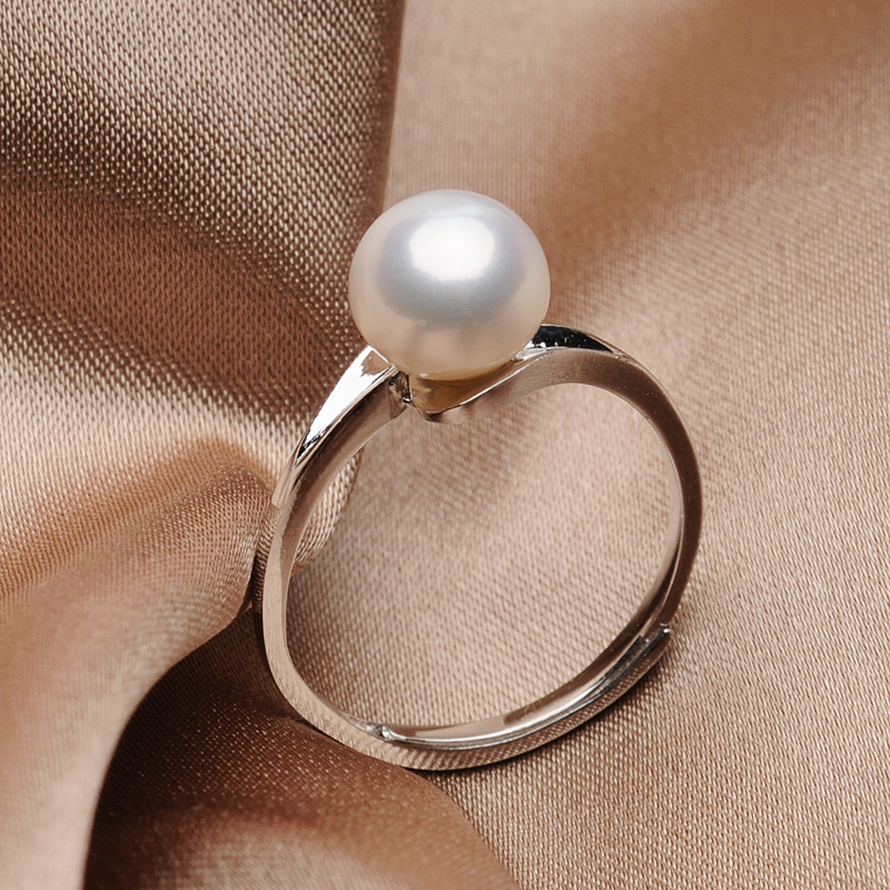 Simple 925 Sterling Silver Pearl Ring for Women 7 8MM White Freshwater Pearl Rings Handmade Fine Jewelry Gift Dropshipping FEIGE in Rings from Jewelry Accessories