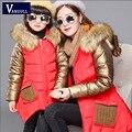 2016 Coreano crianças estrangeiras outono e inverno sweater casaco, bonito casaco espessamento De Pele gola do casaco 2 cor Mãe e filha