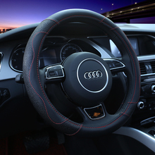 KKYSYELVA Car Steering Wheel Cover Leather 38cm Auto Steering-Wheel Black Covers Interior Accessories
