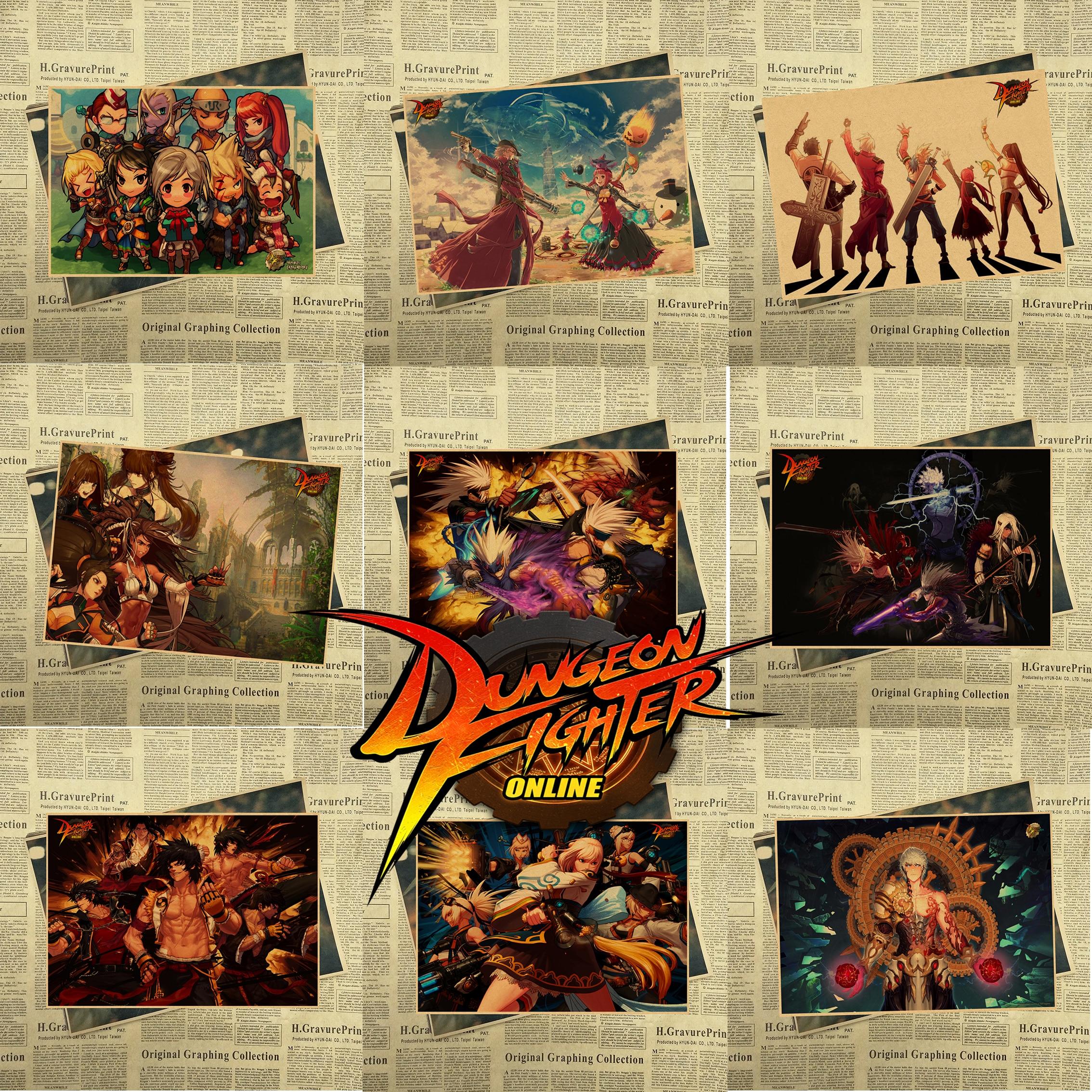 Caldo gioco DNF Dungeon Fighter e di Arte Vintage Kraft Poster Stampa Immagini A Parete per Camera Da Letto Living Room Decor