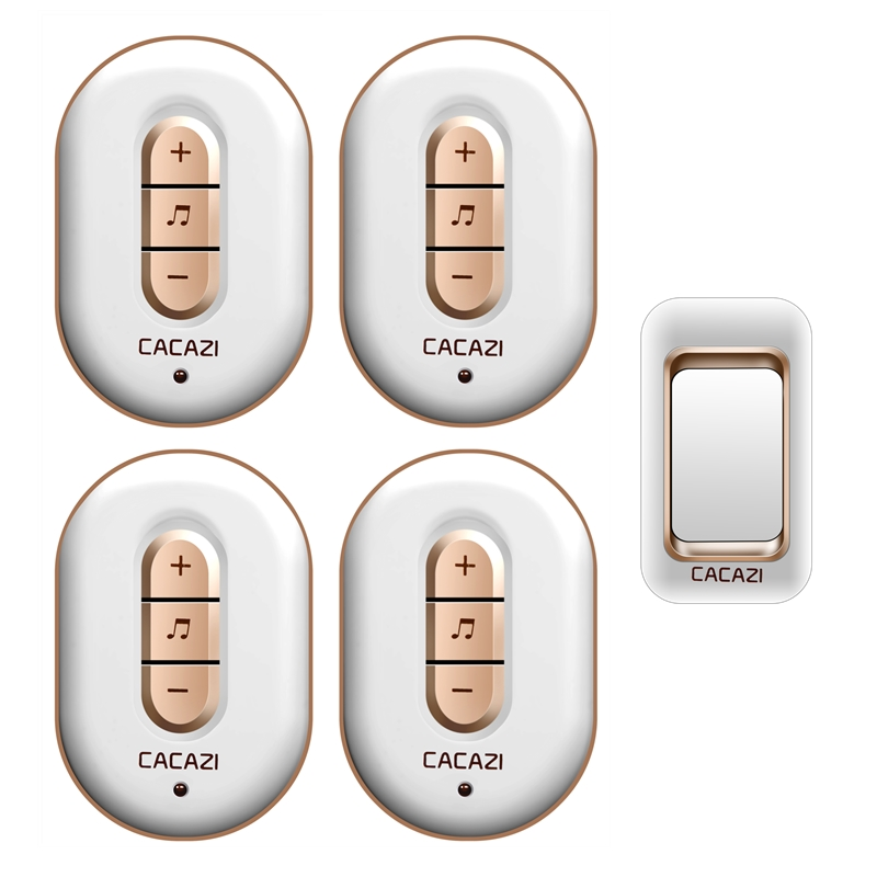 CACAZI AC 110-220V waterproof 300M remote wireless doorbell 1 transmitter+4 receivers with 48 melodies 6 volume door chime cacazi a9 3 ac 75 250v wireless doorbell 1 waterproof button 3 receivers 52 ringtones 4 volume 300m remote electronic doorbell