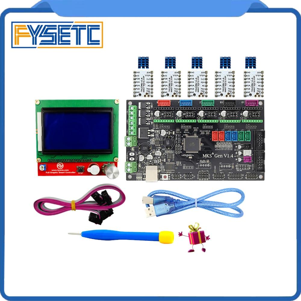 MKS Gen V1.4 3D kit de impresora con MKS Gen V1.4 Junta RepRap + TMC2100/TMC2130/TMC2208/DRV8825 /A4988 + 12864 LCD gráfico