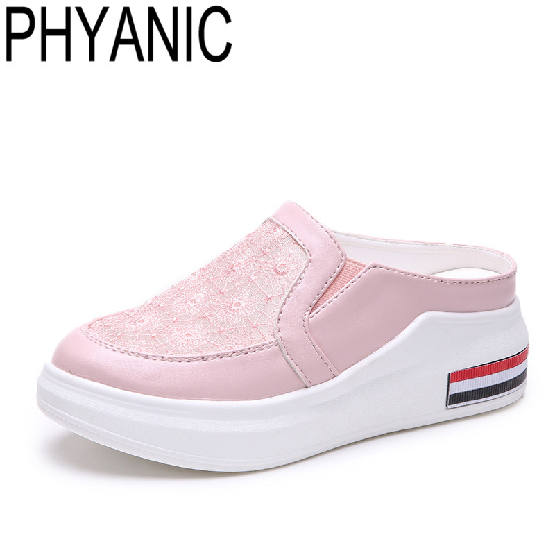 PHYANIC 2018 Spring Summer Lace Material Women Slippers Wedge Slides Casual Espadrilles Mules Shoes Sapatos Femininos