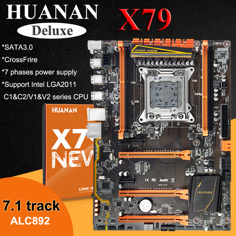 Brand HUANAN deluxe X79 motherboard LGA2011 Xeon E5 2650 C2 with cooler RAM 32G(4*8G) RECC computer assembly components build PC-in Motherboards from Computer & Office    2