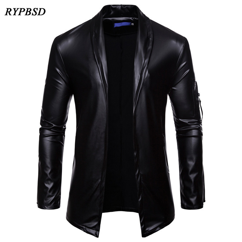 2019 New Fashion Mens Leather Jacket Long Sleeve PU Faux Leather Jacket Solid Color Turn Down Collar Cardigan Jacket Men M-XXXL