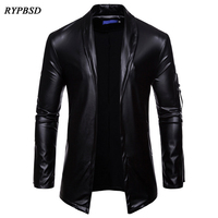 2019 New Fashion Mens Leather Jacket Long Sleeve PU Faux Leather Jacket Solid Color Turn Down Collar Cardigan Jacket Men M XXXL