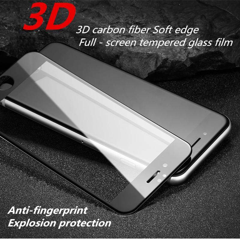 50 pcs 3D Full - <font><b>screen</b></font> <font><b>tempered</b></font> <font><b>glass</b></font> <font><b>film</b></font> carbon fiber Soft edge For iPhone 7 plus Mobile phone <font><b>screen</b></font> <font><b>protective</b></font> <font><b>film</b></font>
