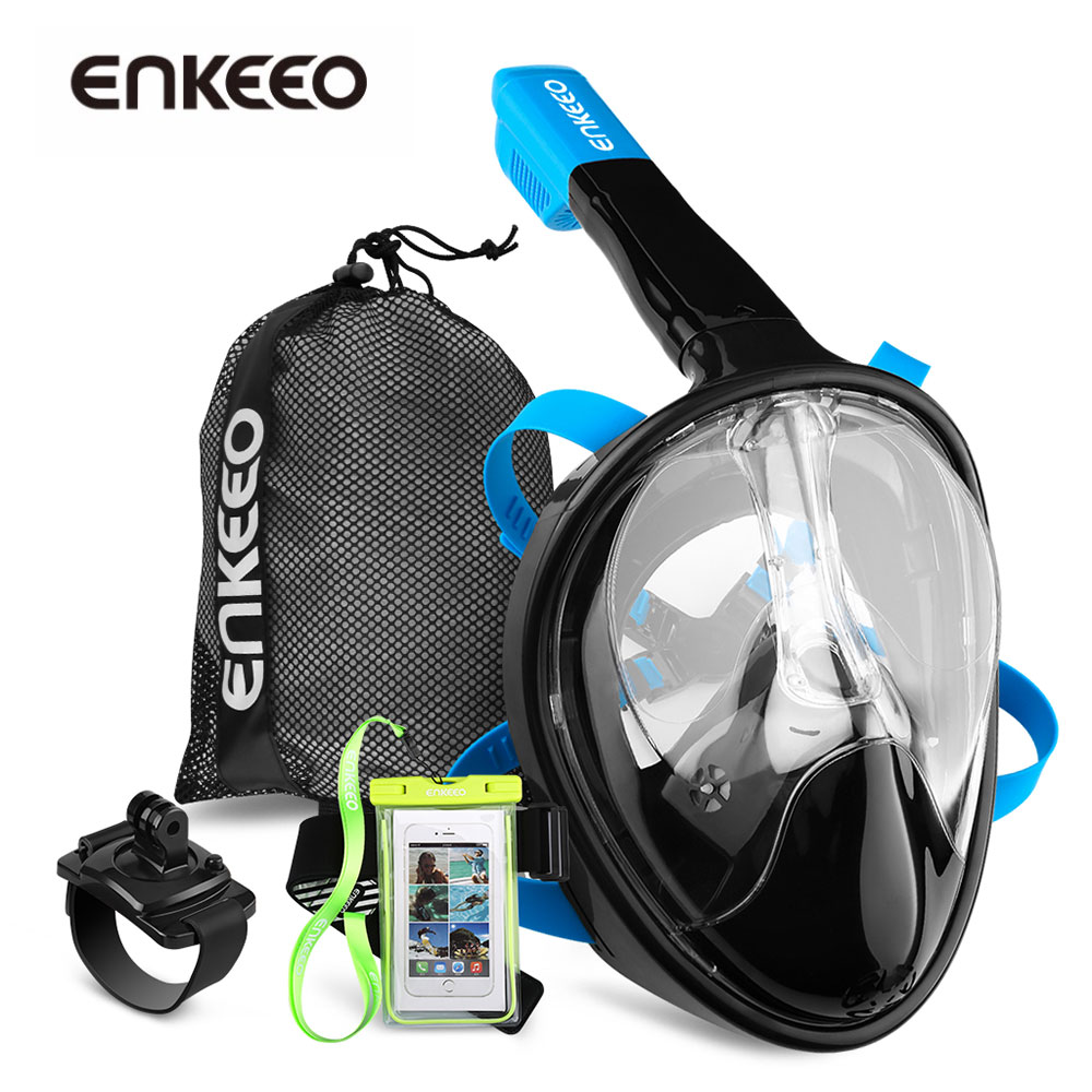 Enkeeo Diving <font><b>Mask</b></font> Underwater Scuba Anti Fog <font><b>Full</b></font> Face Diving <font><b>Mask</b></font> Snorkeling Set with Anti-skid Ring Snorkel 2017 New Arrival