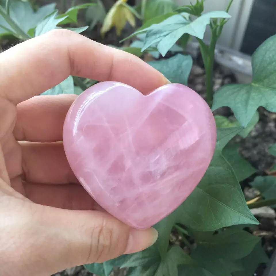 2019 hot 1 pcs 40-45 100% MILÍMETROS rosa natural cristal de quartzo rosa coração cura Frete grátis