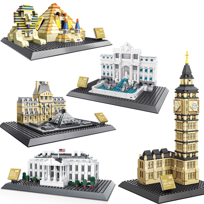 Architecture Building Blocks Assembly Toy Kids White House Tower Louver Pyramid Model Educational DIY Bricks Funny toys loz architecture toy chrysler building model nano pixels diamond single sale building blocks bricks toys plastic assembly 9381
