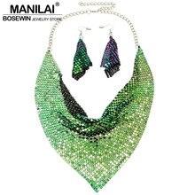 MANILAI Indian Jewelry Set Chic Style Shining Metal Slice Bib Choker Necklaces Earring Party Wedding Fashion Jewelry Sets 2018