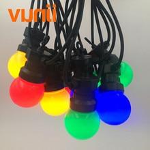 Vunji ip65 leitoso globo g50 multicolorido lâmpada corda conectável luzes da corda ao ar livre para festa de natal casamento guirlanda luzes