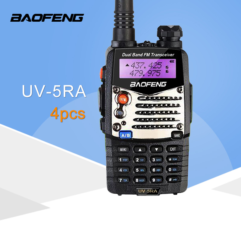 (4 PCS)Baofeng UV5RA Ham Two Way Radio Walkie Talkie Dual Band Transceiver (Black)-in Walkie Talkie from Cellphones & Telecommunications