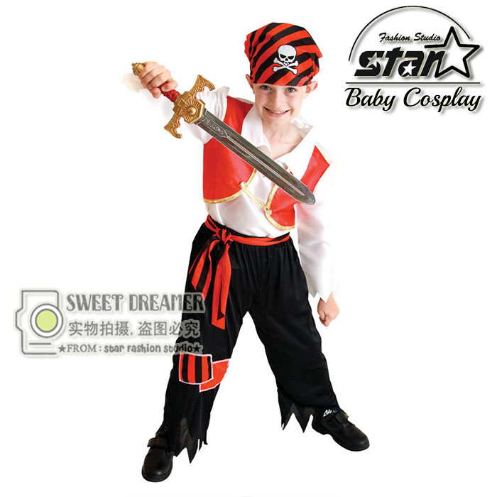 3 Pcs Set Halloween Costume Cosplay Caribbean Pirates Clothes For Boys Captain Jack Children Role Playing Children Party Clothes kids boys pilot costume cosplay halloween set for children fantasia disfraces game uniforms boys military air force jumpsuit