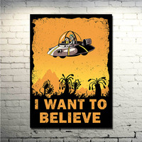 Poster For NEW I Want To Believe X Files Art Film UFO Art Silk Fabric 13x18