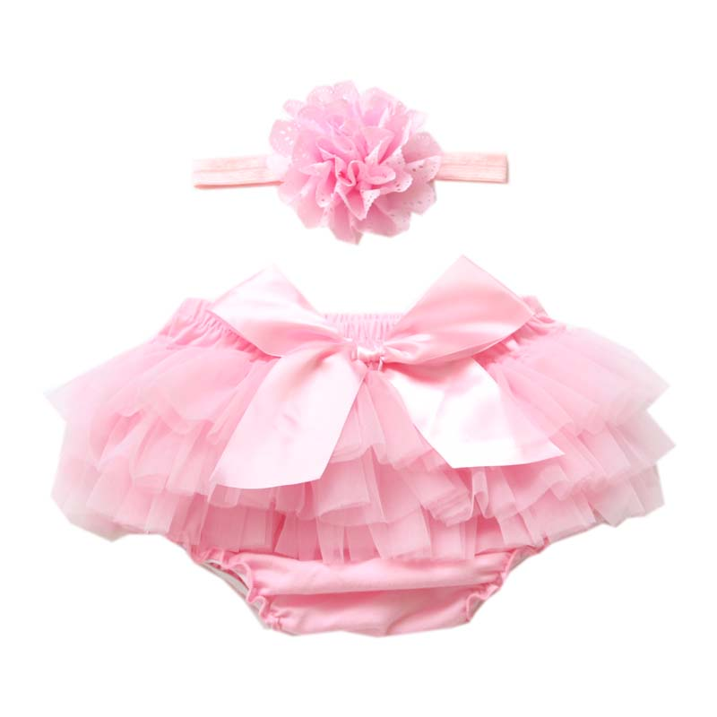 Newborn Baby Girls Ruffle Lace Tutu Bloomers Diaper Cover PP Pants Bottom Shorts with Hairband 0-2T
