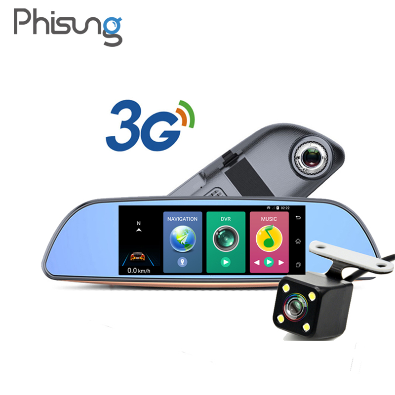 7 3G Car Camera DVR GPS Bluetooth Dual Lens Rearview Mirror Video Recorder Full HD 1080P Automobile DVR Mirror Dash cam