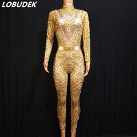 Gold Yellow Crystals Pearl Jumpsuit Sexy Skinny Silver Gray Rhinestones Bodysuit Women DJ Bar Singer Catwalk Party Stage Costume