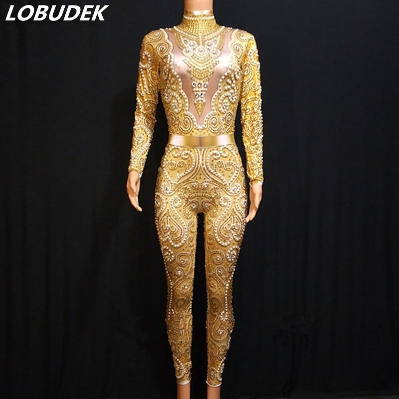 Or jaune cristaux perle combinaison Sexy Skinny argent gris strass body femmes DJ Bar chanteur passerelle fête scène Costume