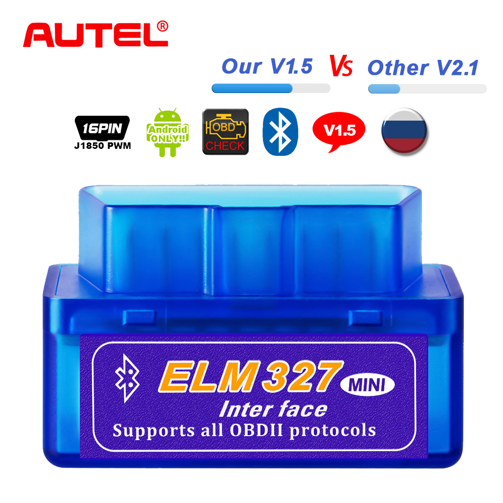 Real ELM327 V1 5 ELM 327 Bluetooth OBD2 Scanner Android Car Auto Diagnostic Tool Automotive OBD 2  OBDII Scaner Better V2 1