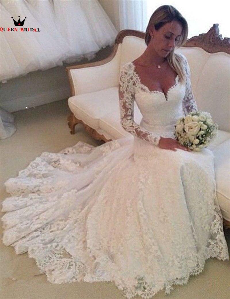 Custom Made A-line Long Sleeve Lace Sexy Elegant Formal Bride Wedding Dresses Wedding Gowns Vestido De Noiva RD04