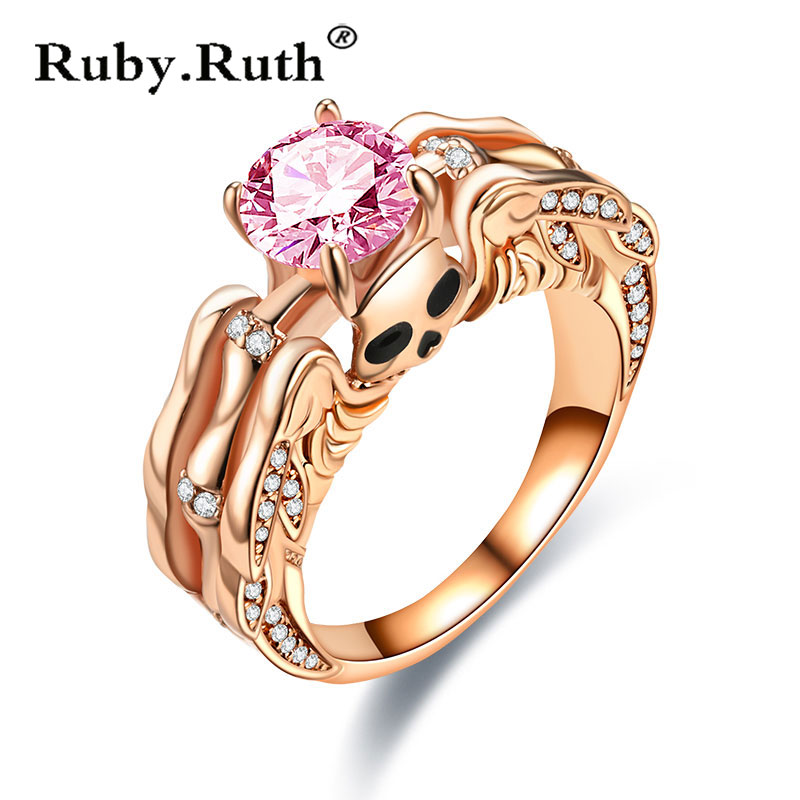 Skull Ring for Women crystal Engagement Wedding Valentine's Day Jewelry Gift