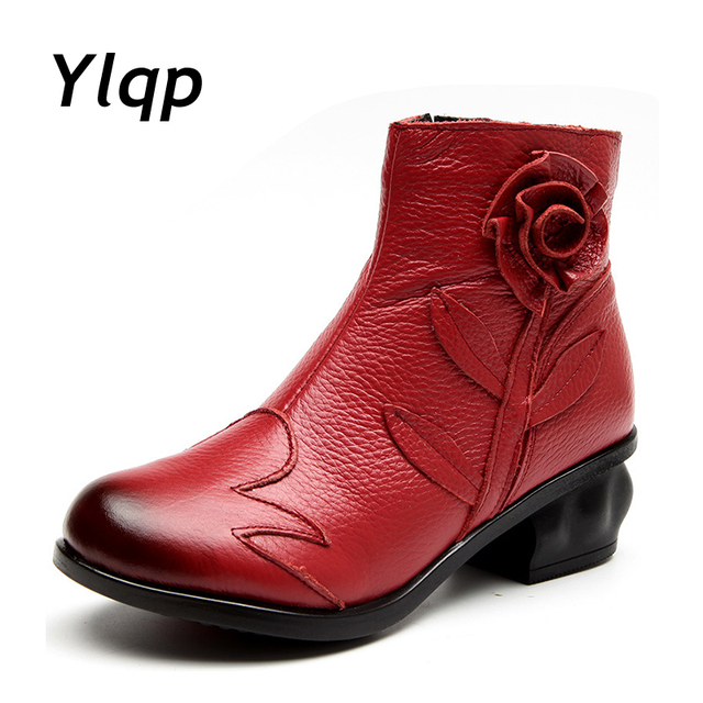New Arrival 2018 Autumn Fashion Women Genuine Leather Boots Handmade Vintage Flower Ankle Botines Shoes Woman Winter botas