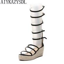 AIYKAZYSDL/женские сандалии-гладиаторы с ремешками; летние сапоги до середины икры из конопли; сандалии танкетки на платформе и толстом высоком каблуке