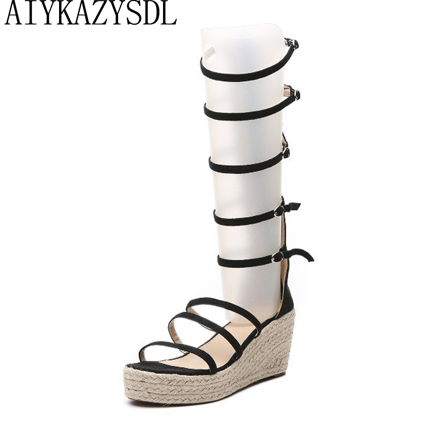 ae0cbb867 AIYKAZYSDL Women Strappy Gladiator Sandals Cane Hemp Straw Mid Calf Summer  Boots Shoes Wedge Sandals Platform Thick High Heels-in High Heels from  Shoes on ...