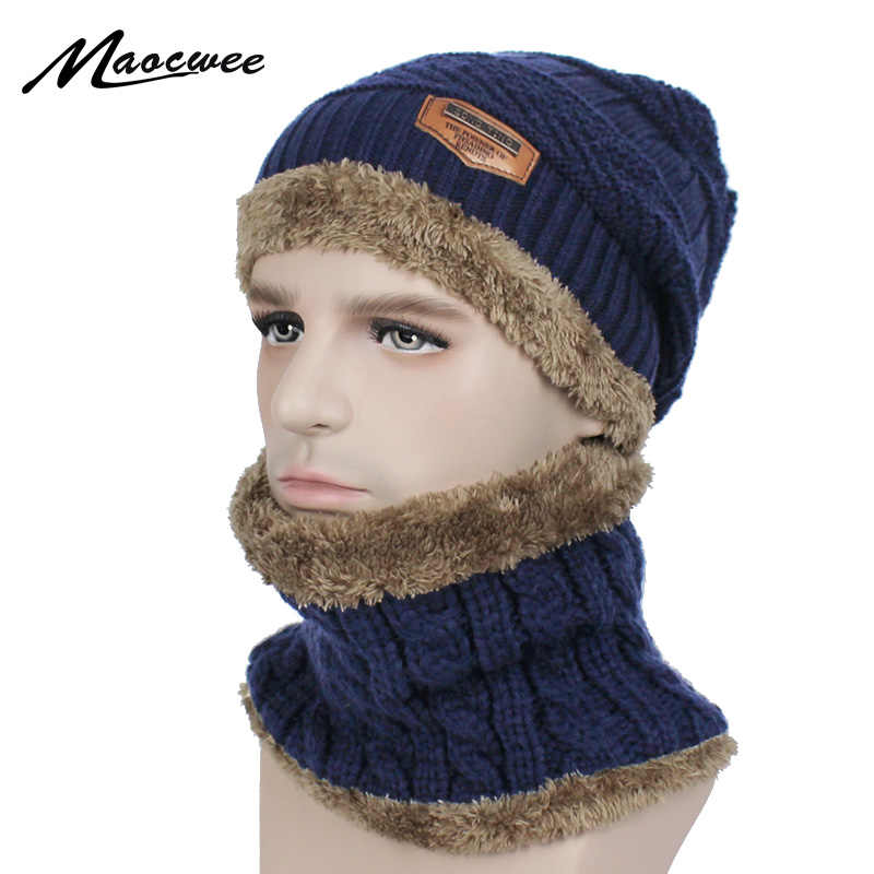 48acd9606d9 2018 Winter Beanie Women Men Fashion Solid Lining Thick Warm Knit Winter  Hat Cap Scarf Sets