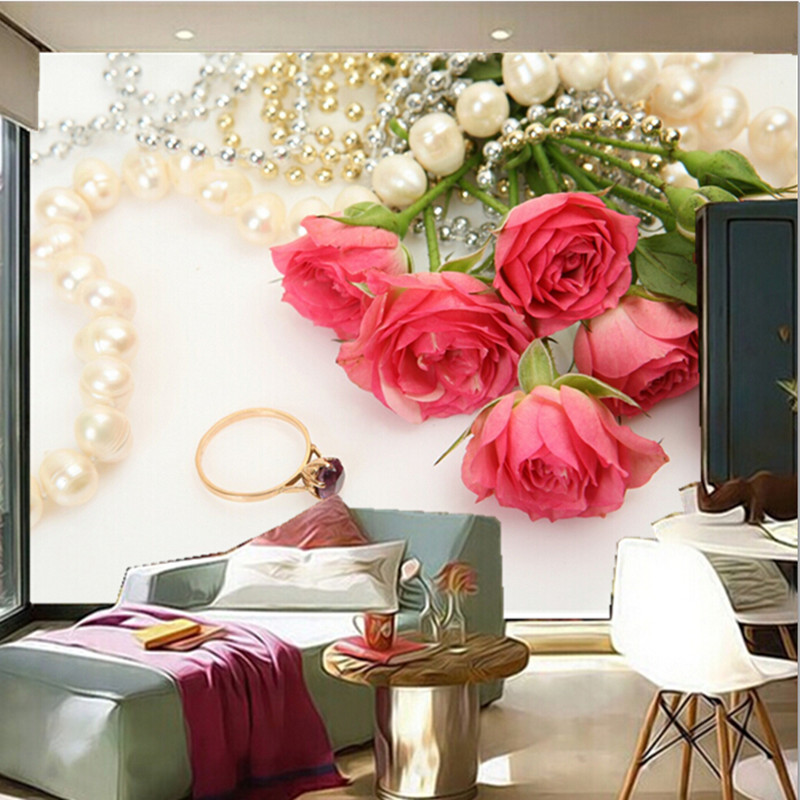 The custom 3d muralsromantic roses jewelry pink color flowers the custom 3d muralsromantic roses jewelry pink color flowers wallpapers living room sofa tv wall bedroom wall paper in wallpapers from home improvement mightylinksfo
