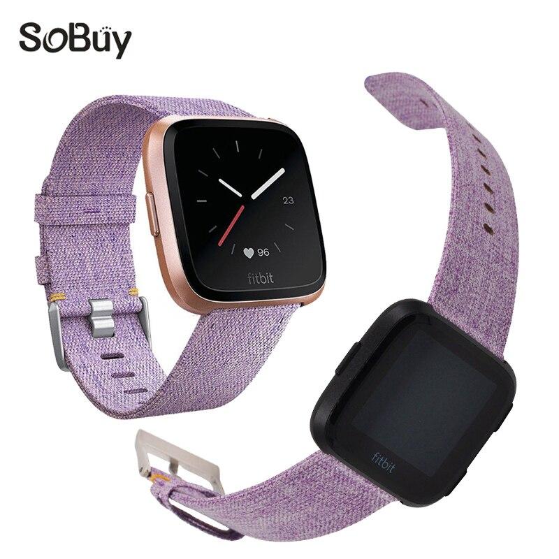 So buy cozy nylon sports band for fitbit versa watch bracelet versa canvas wristband woman woven watchband fabric wrist strap