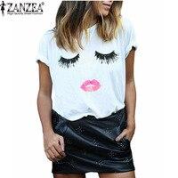 New 2016 Summer Style Women Elegant Lashes Lip Print T Shirt Ladies Casual Simple O Neck