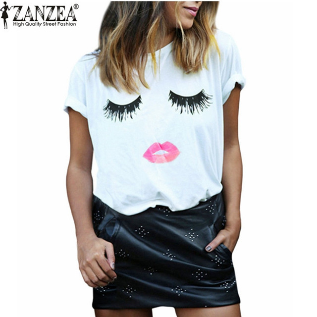 8f592a7fec New 2016 Summer Style Women Elegant Lashes Lip Print T Shirt Ladies Casual  Simple O Neck White Tee Tops Blusas Plus Size 6XL