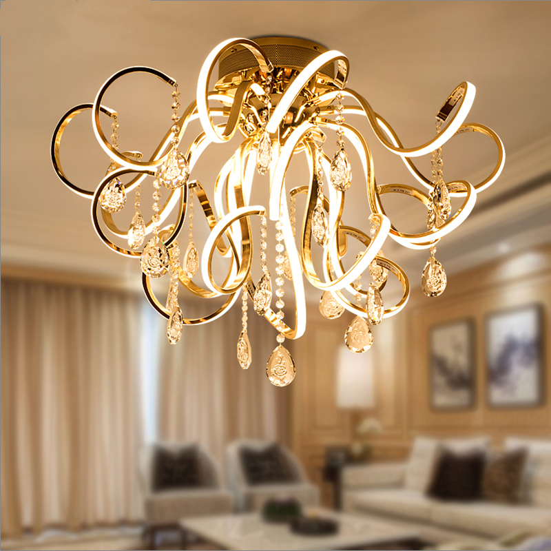 Image 2 - Creative personality art modern simple led chandelier living room lights K9 crystal luxury restaurant bedroom lights-in Chandeliers from Lights & Lighting