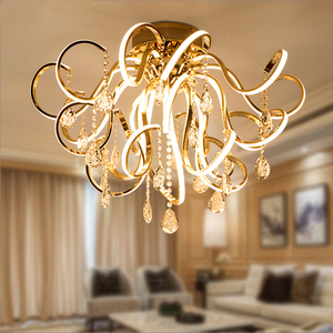 Image 2 - Creative personality art modern simple led chandelier living room lights K9 crystal luxury restaurant bedroom lights