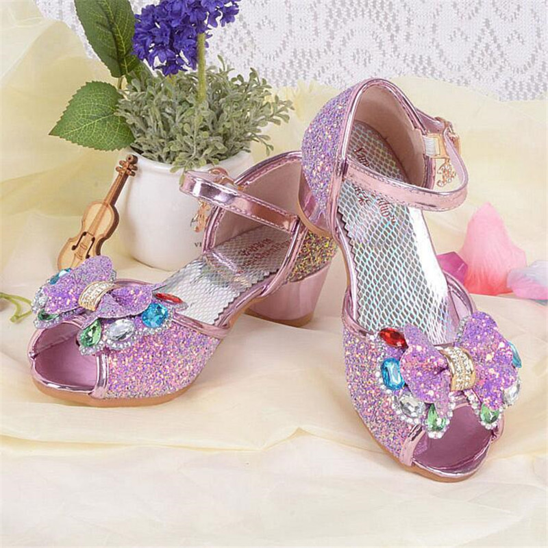 Children Princess Glitter Sandals butterfly Girls dance Shoes Square high-heeled Dress Party Shoes size 26-37 pink sky blue TX01