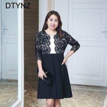 2018 Elegant Lace Dress O-neck Spring Summer Prom Maxi Vintage Party Dress Keen Length Plus Size Hollow Vestidos Black 4