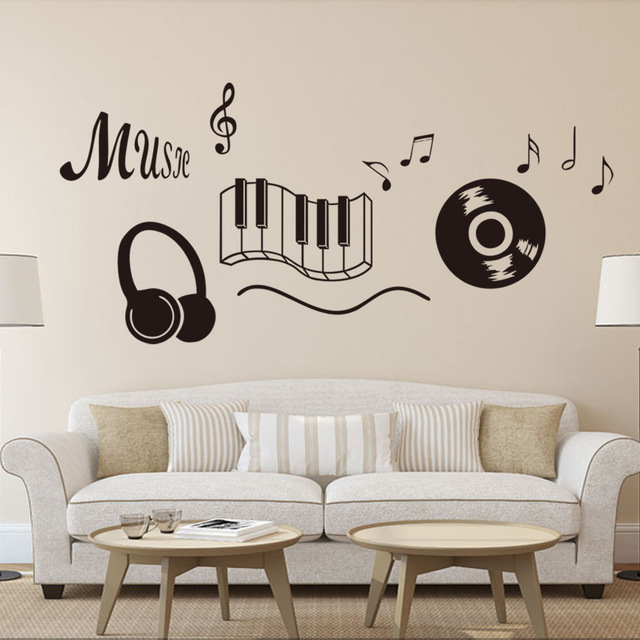 Music wall stickers for room decorations diy pvc decals children