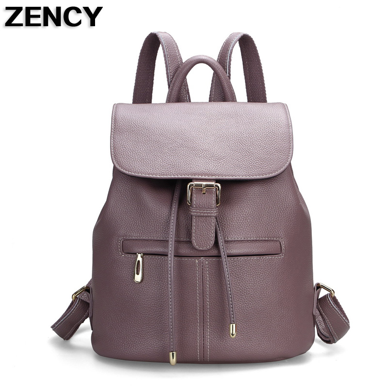 ZENCY Real Leather Backpack Famous Brands Genuine Cow Leather Backpacks Soft Top Layer Cowhide Women Female Bags zency genuine leather backpacks female girls women backpack top layer cowhide school bag gray black pink purple black color