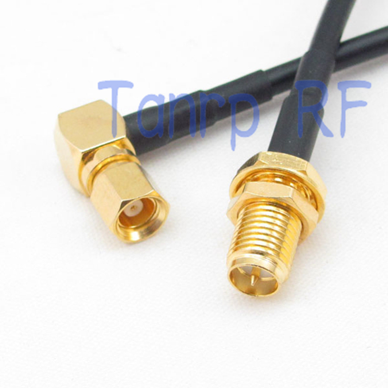 цена на 10PCS 6in SMC male right angle 90 degree to RP-SMA female jack RF adapter 15CM Pigtail coaxial jumper RG174 extension cable