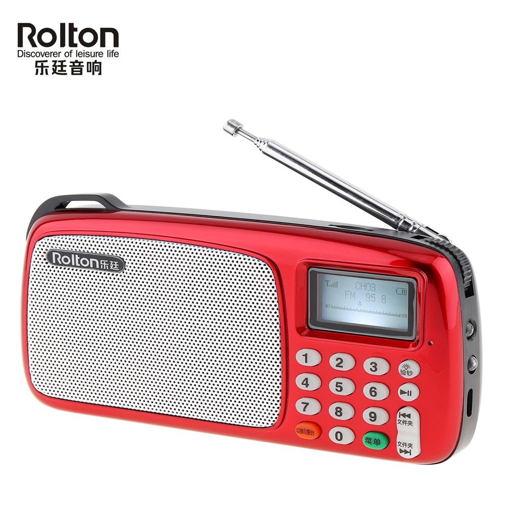 Tragbare Rolton T303 Tf Karte Mini Usb Fm Radio Lautsprecher Mit Led-anzeige Mp3 Musik Player/taschenlampe Lampe/ Geld Überprüfen Schnelle Farbe Radio