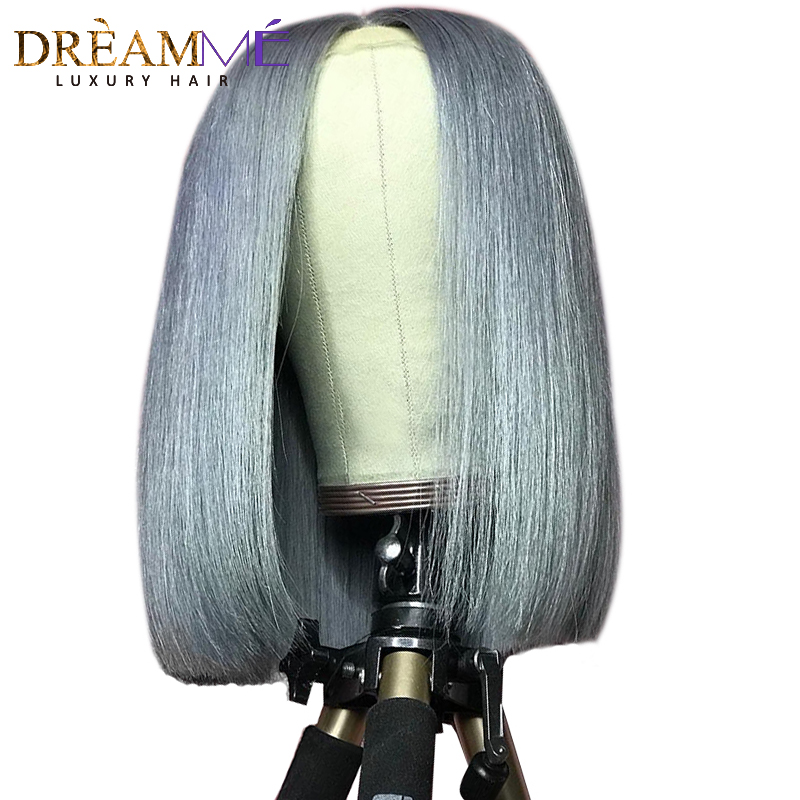 Grey Human Hair Wig With Baby Hair Straight Transparent Lace Bob Lace Front Wigs Remy Short