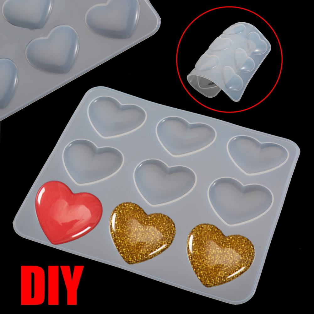 1pc 9-Cavity Silicone Heart Shape Mold Jewelry Making DIY Pendant Necklace Mirror Crystal Epoxy Resin Mold Craft Tool