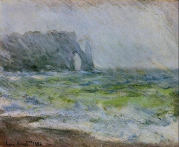 High quality Oil painting Canvas Reproductions The Manneport, Etretat in the Rain (1885-1886) By Claude Monet hand painted