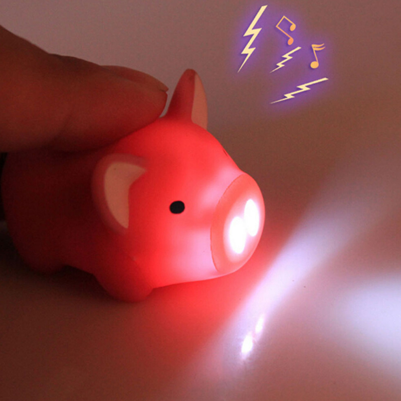 Sale Cute Funny Pig Led Keychains Flashlight Sound Creative Girls Kids Toys Light Key Rings Fashion Jewelry
